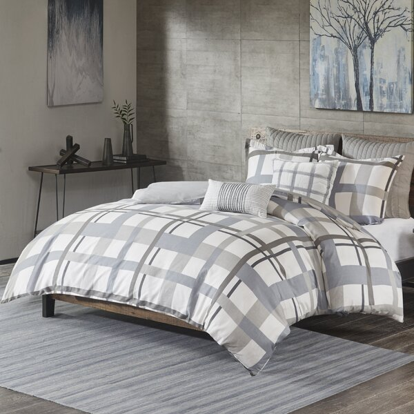 Demetrius Plaid Cotton Sateen 3 Piece Duvet Cover Set by Wade Logan