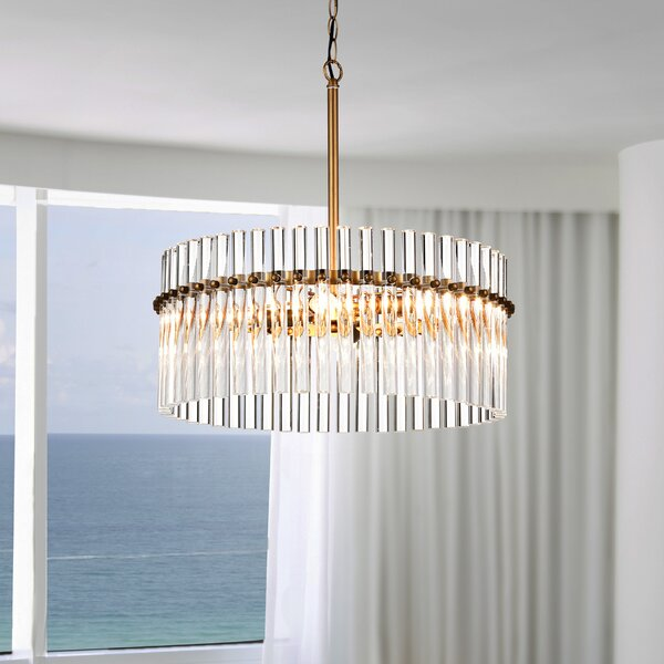 Neva 4 - Light Candle Style Drum Chandelier With Accents By Mercer41