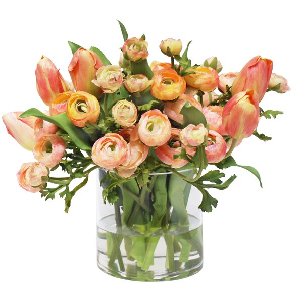 Mix Peach Ranunculus and Tulip Floral Arrangement in Vase by Darby Home Co