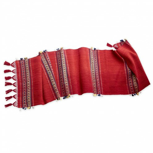 Artisan-Made Fringed Table Runner by VivaTerra