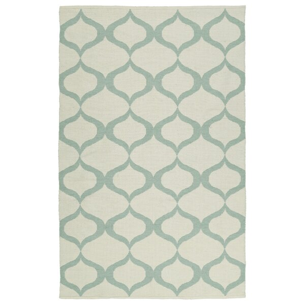 Dominic Cream/Mint Indoor/Outdoor Area Rug by Ebern Designs