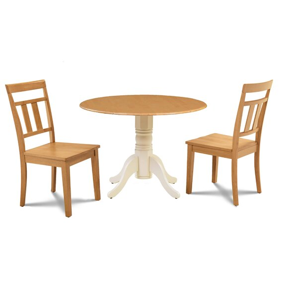 Watertown 3 Piece Drop Leaf Solid Wood Dining Set by Millwood Pines Millwood Pines