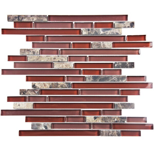 Sierra Random Sized Glass and Natural Stone Mosaic Tile in Bordeaux by EliteTile