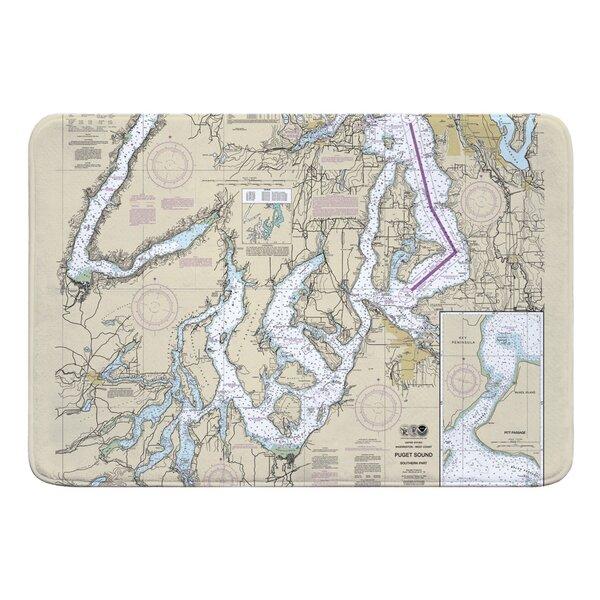 Nautical Chart Puget Sound SOUTHERN WA Rectangle Memory Foam Non-Slip Bath Rug