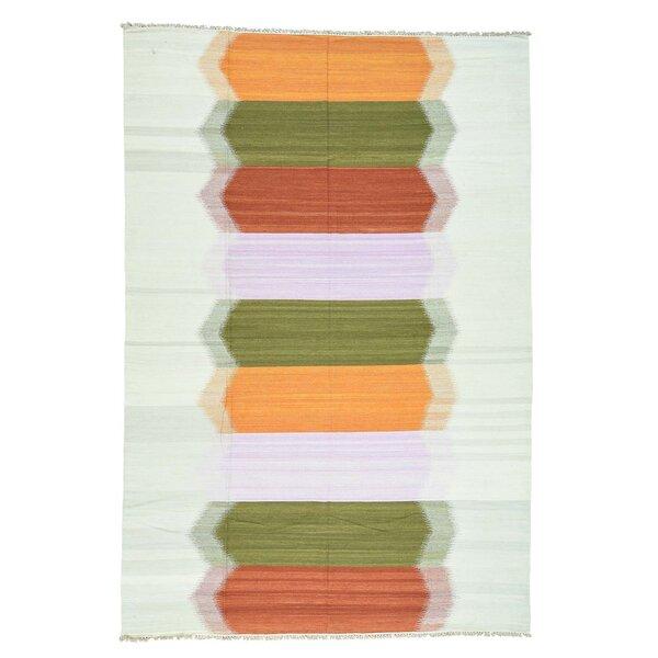 Kilim Flat Weave Oriental Hand-Knotted Green/Orange Area Rug by Bloomsbury Market