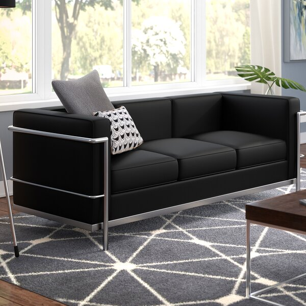 Best #1 Burnside Leather Sofa By Wade Logan Purchase