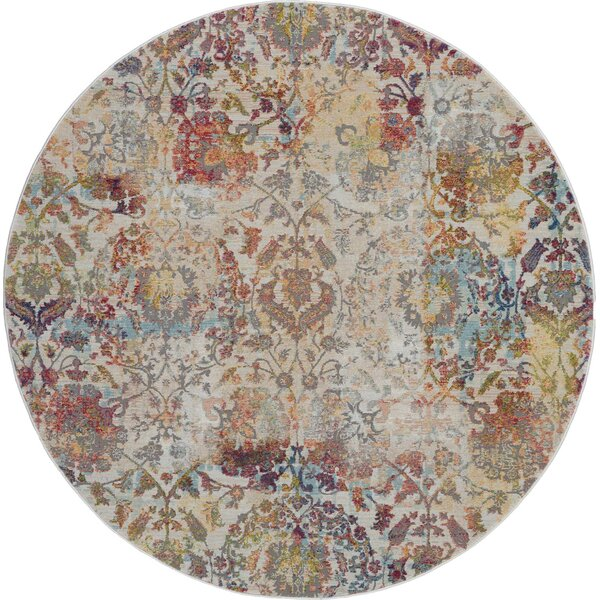Burnie Oriental Ivory/Orange Area Rug by Bungalow Rose