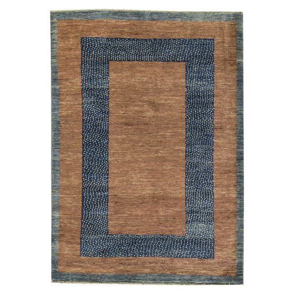 One-of-a-Kind Gabbeh Midnight Border Hand-Knotted Wool Blue/Brown Area Rug by Bokara Rug Co., Inc.