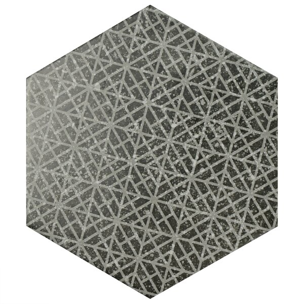 Lunastone Hexagon 10 x 11.5 Porcelain Field Tile Floor and Tile in Black/Gray by EliteTile