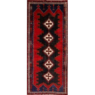 Best Reviews One-of-a-Kind Oldham Shiraz Persian Geometric Hand-Knotted Runner 5'8 x 12'10 Wool Red/Black Area Rug By Isabelline