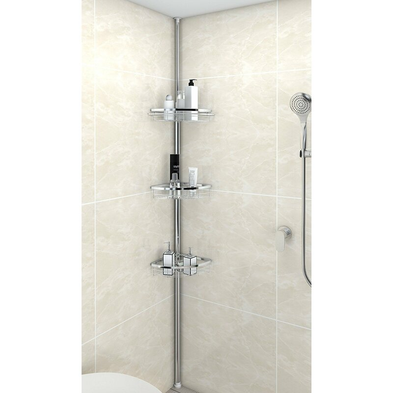 Rebrilliant Anne Adjustable 3 Tier Tension Bathroom Shower Caddy ...