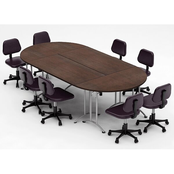 Meeting Seminar 4 Piece Racetrack/Oval 30H x 60W x 120L Conference Table Set by Team Tables