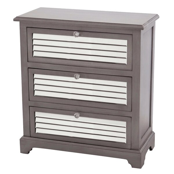 Heinrich Mirrored 3 Drawer Accent Chest by House of Hampton House of Hampton