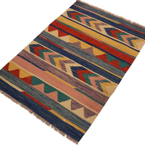 One-of-a-Kind Aalborg Hand-Woven Wool Blue/Beige Area Rug by Isabelline