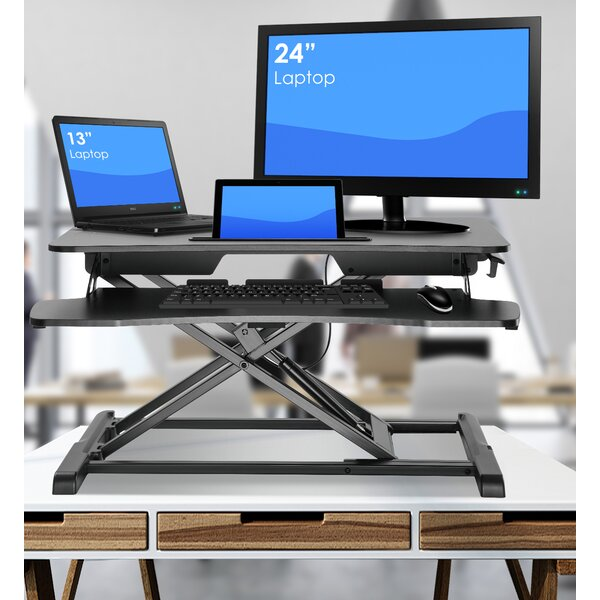 Wimbish Adjustable Work Station Standing Desk Converter by Symple Stuff