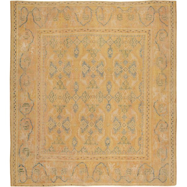 One-of-a-Kind 17th Century Hand-Knotted Before 1900 Spanish Ivory 10' x 11' Wool Area Rug