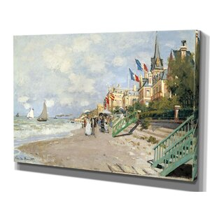 'Boardwalk on the Beach' by Claude Monet Framed Painting Print by Wexford Home