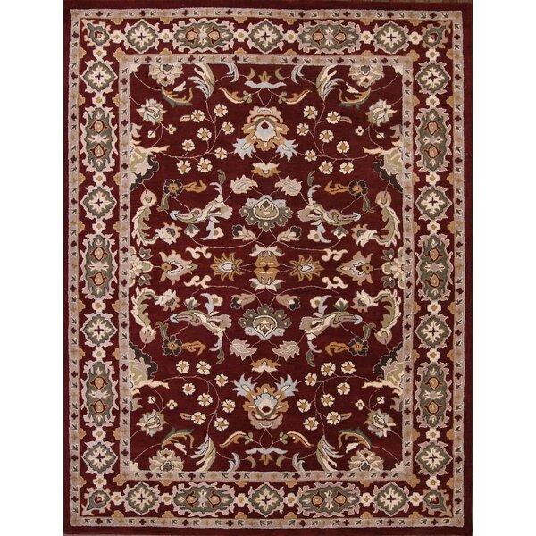 Pugh Agra Oriental Hand-Tufted Wool Burgundy/Beige Area Rug by World Menagerie