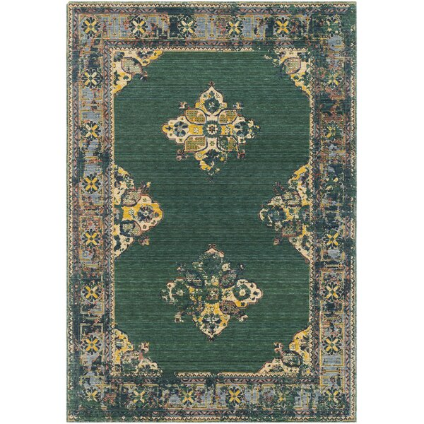 Rand Overdyed Vintage Dark Green/Bright Yellow Area Rug by Bungalow Rose