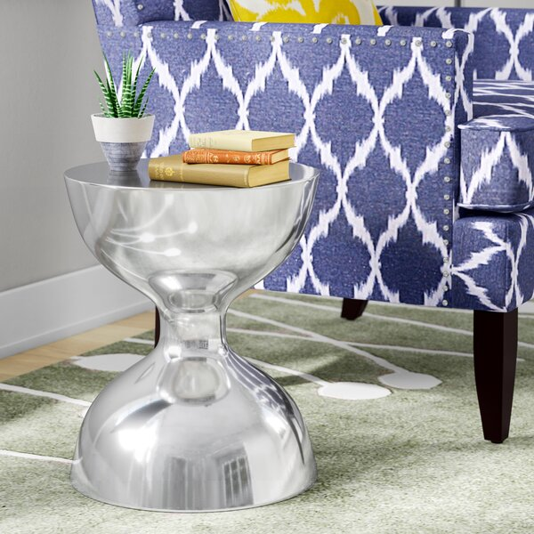 Aluminum Hour Glass Accent Stool by Wade Logan