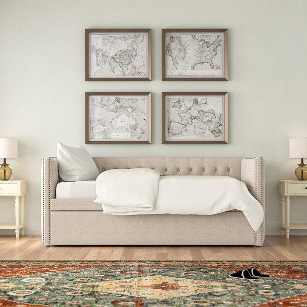Avera Linen Upholstered Twin Daybed with Trundle by Three Posts