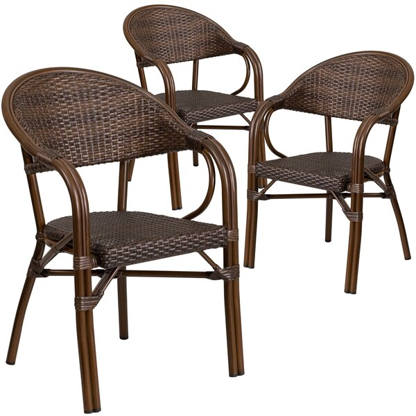 Shelie Rattan Restaurant Patio Chair (Set of 3) by Bayou Breeze