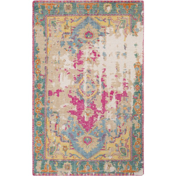 Marshfield Hand Knotted Wool Teal/Emerald/Khaki Area Rug by Bungalow Rose