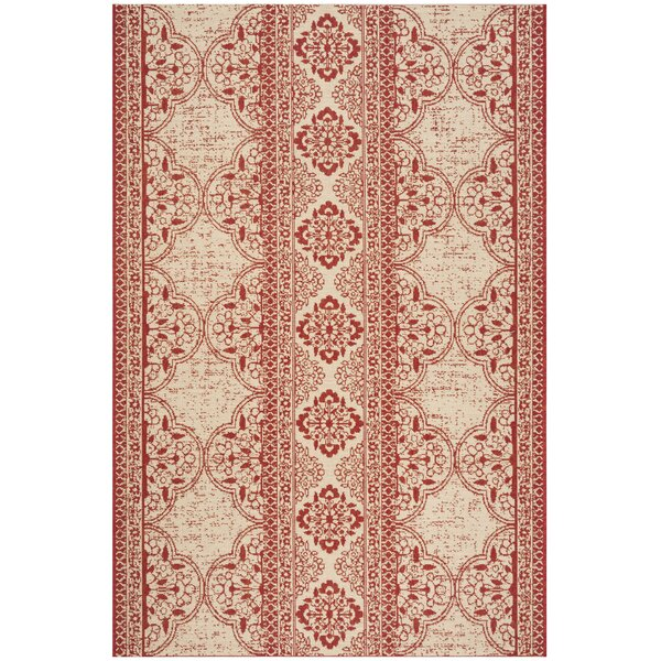 Loveday Red/Creme Area Rug by Canora Grey