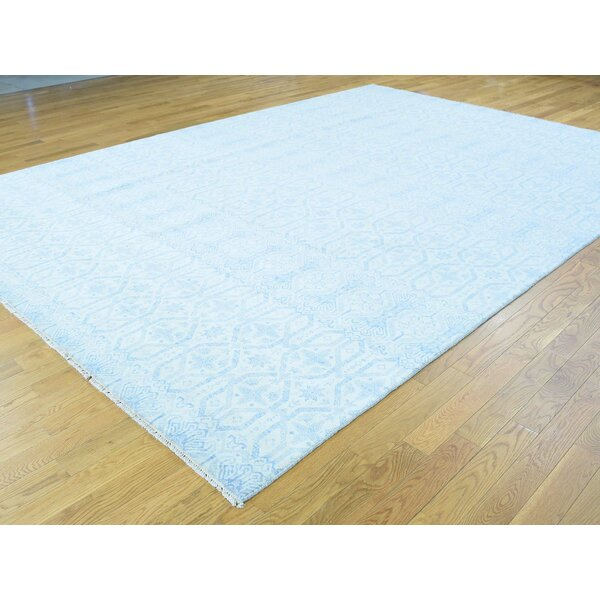One-of-a-Kind Braedon Ikat Design Handwoven Blue Wool Area Rug by Isabelline