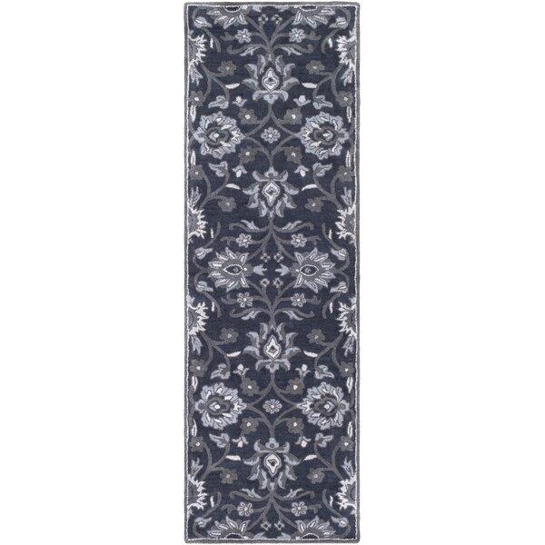 Keefer Oriental Handmade Tufted Wool Navy/Charcoal Area Rug