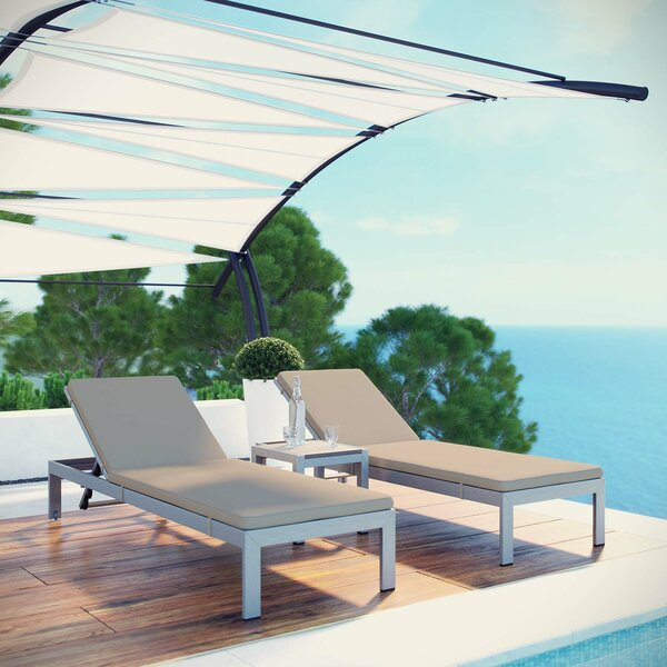 Coline Outdoor Patio Sun Lounger Set with Cushions and Table by Orren Ellis Orren Ellis