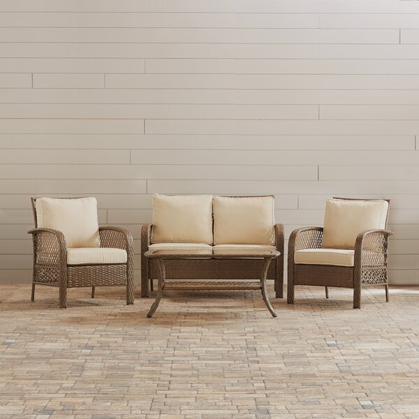 Stalder 4 Piece Sofa Set with Cushions by Beachcrest Home