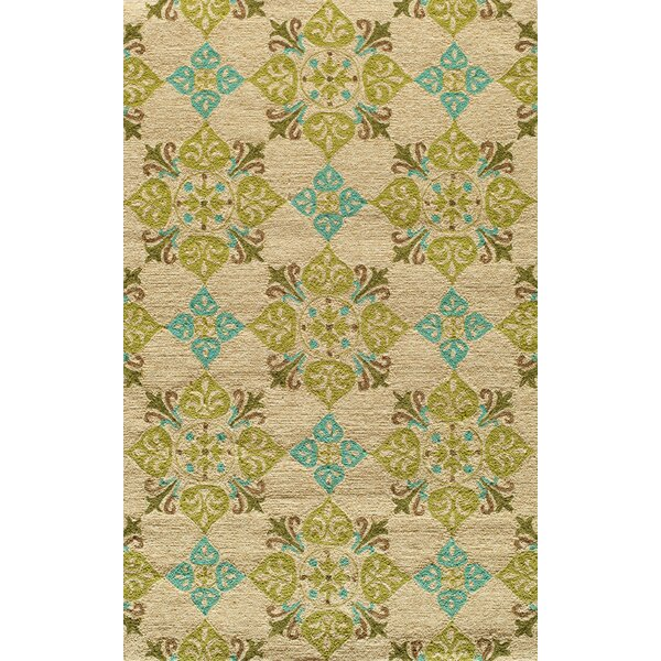 Bromville Hand-Hooked Beige/Green Indoor/Outdoor Area Rug by World Menagerie