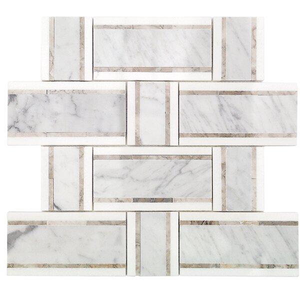 Mingle Thassos Interlocking Random Sized Marble Mosaic Tile in White Carrara/Gray by Splashback Tile