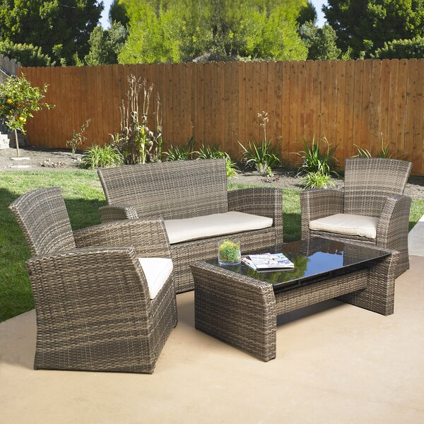 Redondo 4 Piece Sofa Set with Cushions by Mission Hills