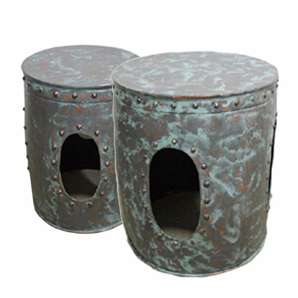 Pierro Distressed Metal 2 Piece Nesting Tables by Bloomsbury Market