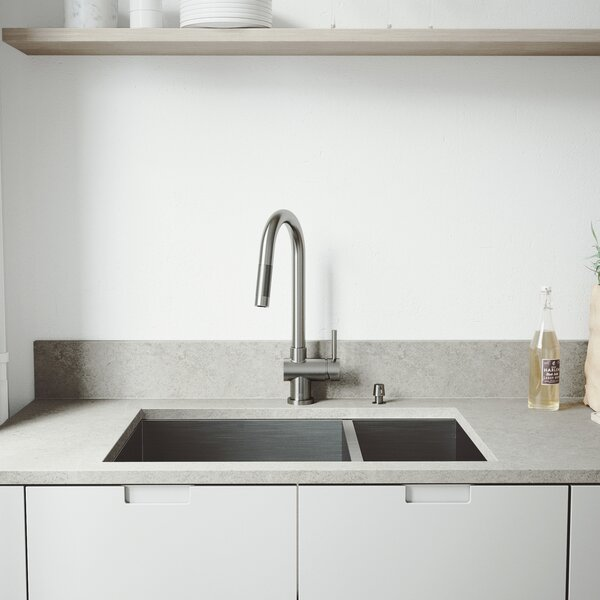 29 L x 20 W Double Basin Undermount Kitchen Sink with Faucet, Grid, Strainer and Soap Dispenser by VIGO