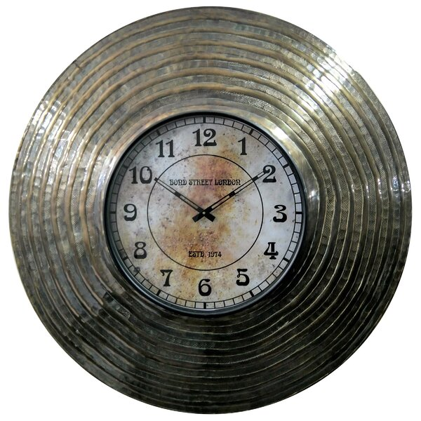 Oversized Hemington Rustic Round Analog 32 Wall Clock by World Menagerie