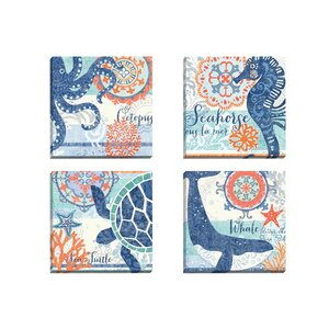 North Shore Octopus by Jennifer Brinley 4 Piece Graphic Art on Wrapped Canvas Set by Portfolio Canvas Decor