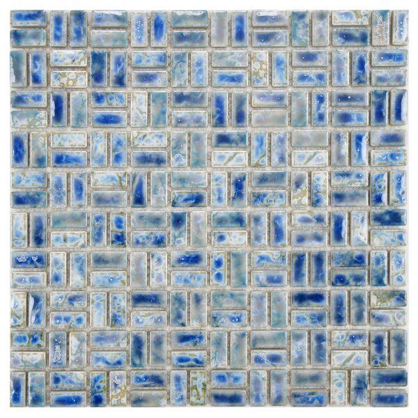 Arcadia Weave 0.5 x 1 Porcelain Mosaic Tile in Neptune Blue by EliteTile