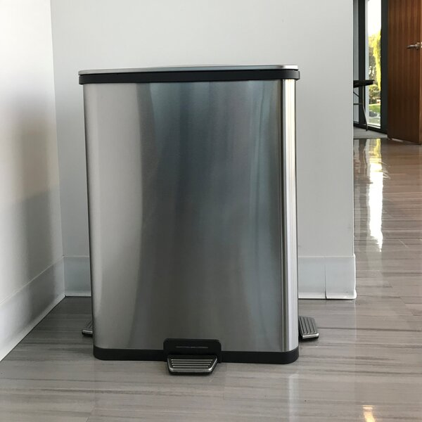 TapCan Deluxe Stainless Steel 13 Gallon Motion Sensor Trash Can by halo