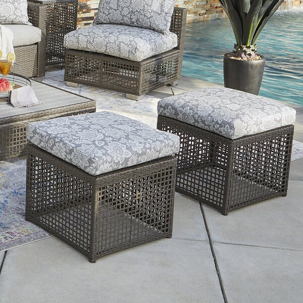 Santo Open Weave Outdoor Ottoman with Cushion (Set of 2) by Ivy Bronx