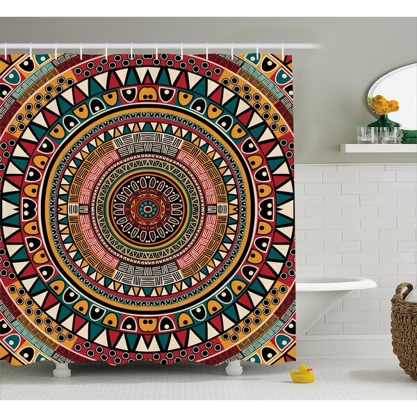 Clark Tribal African Folkloric Tribe Round Pattern With Ethnic Colors Aztec Art Shower Curtain by World Menagerie