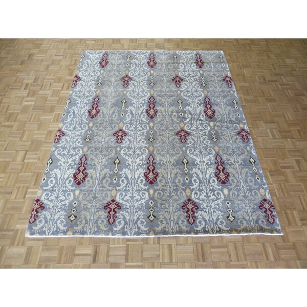 One-of-a-Kind Pellegrino Ikat Peshawar Hand-Knotted Wool Grayish Blue Area Rug by Bloomsbury Market