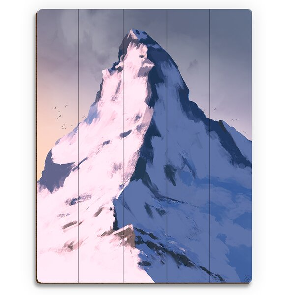 Snowy Peak Dawn Painting Print on Plaque by Click Wall Art