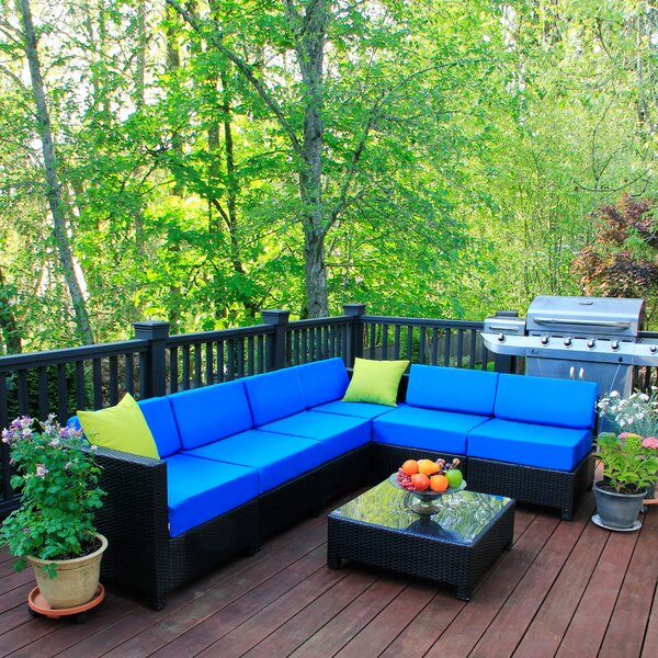 Lelusa 7 Piece Sectional Seating Group with Cushions by Latitude Run
