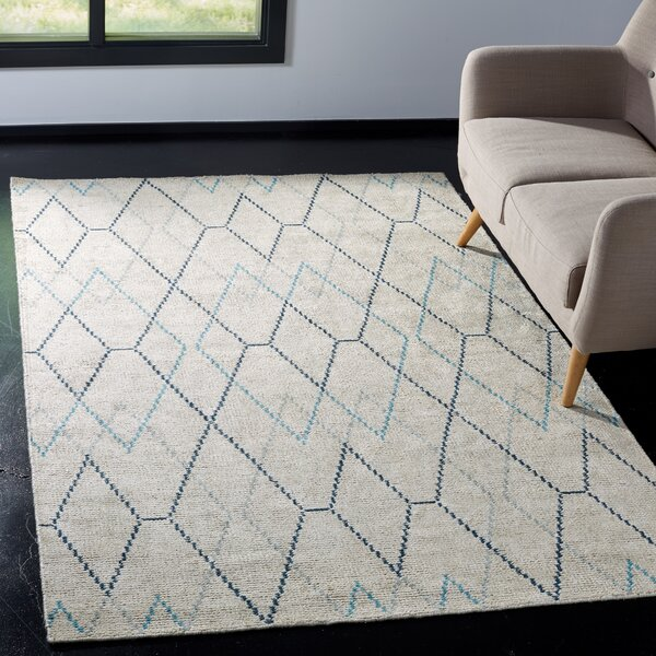 Oakely Hand-Knotted Ivory Area Rug by Brayden Studio