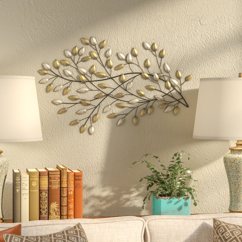metal wall decorations for living room. Champagne and Gold Metal Blowing Leaves Wall D cor Art