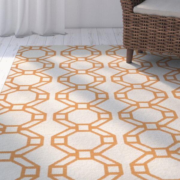 Fowler Cream/Orange Indoor/Outdoor Area Rug by Beachcrest Home