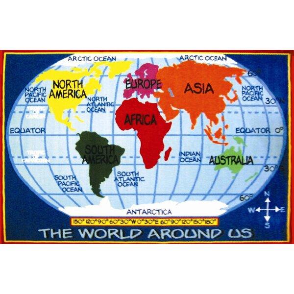 Fun Time World Map Classroom Area Rug by Fun Rugs
